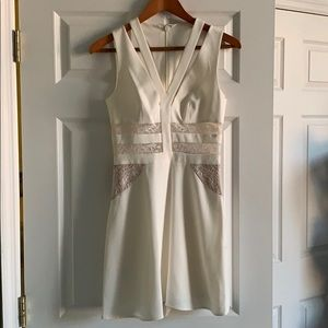 BCBG Cream Dress cutouts with lace 02